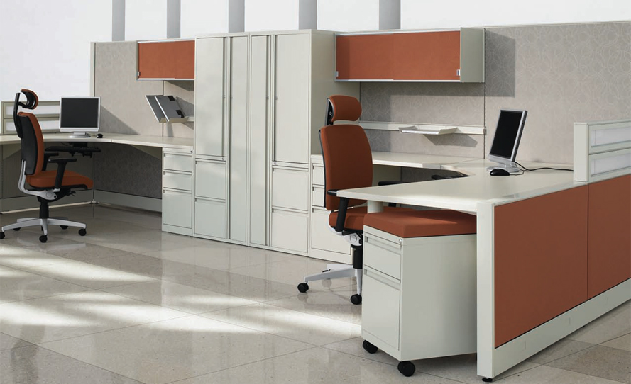 High-Low cubicle walls anchored by storage towers.