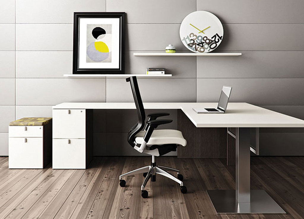 white l shaped desk contemporary office desk desk furniture. Black Bedroom Furniture Sets. Home Design Ideas