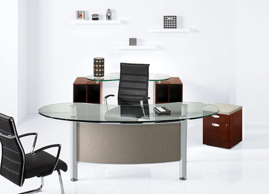 American Made Furniture >> Glass Top Office Desk - Contemporary Office Desk - Desk Furniture