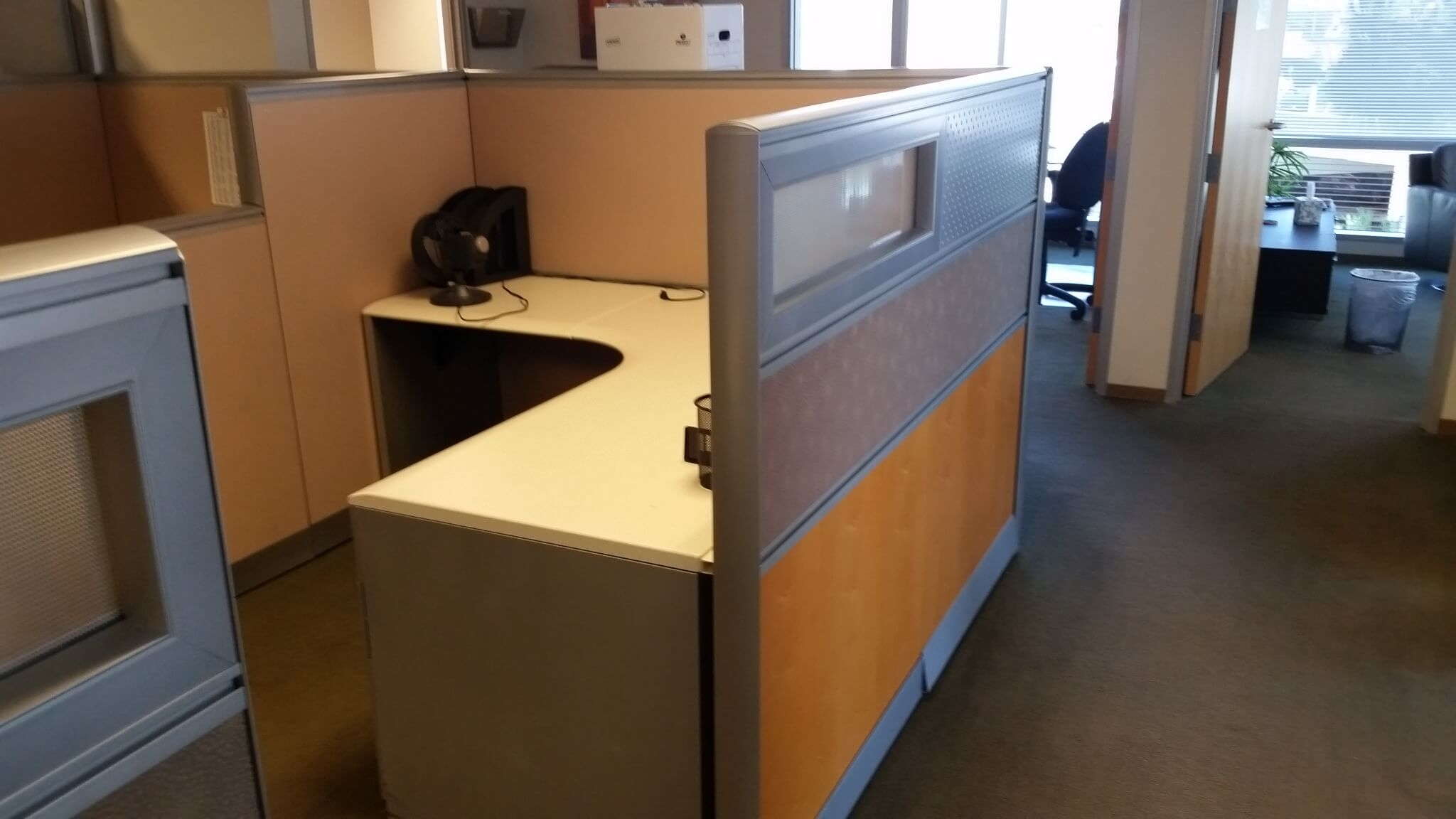 Modern office cubicles used