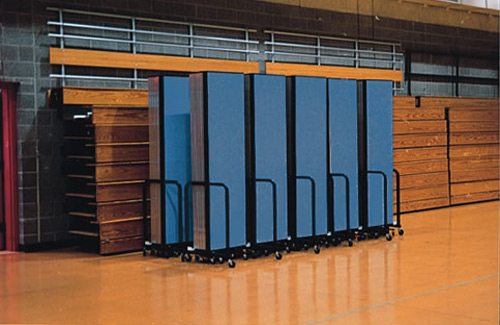 Temporary wall systems for education - folded storage