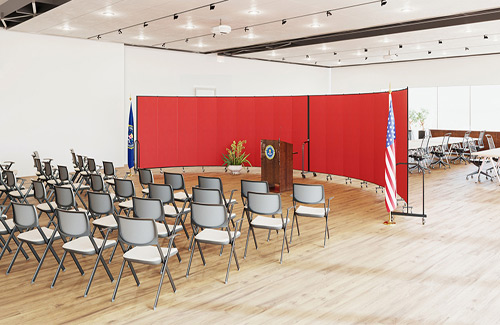 Temp wall panels for government - press conference