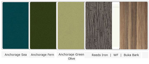 Office Color Palette: Anchorage Sea | Anchorage Fern | Anchorage Green | Reeds Iron | WF | Buka Bark