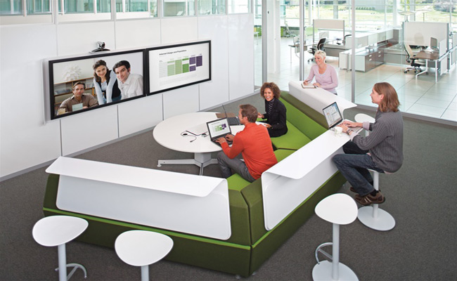 Modern office furniture with integrated technology