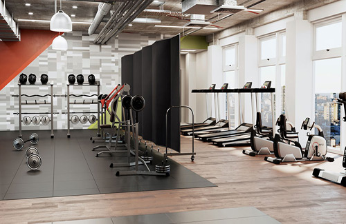 Accordion wall for healthcare - gym & fitness centers