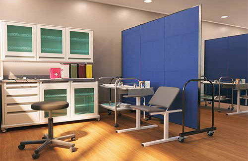 Accordion wall for healthcare - exam rooms