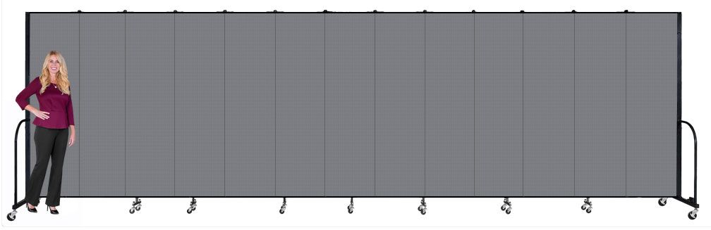 Tall accordion divider walls on wheels: 8ft high, 13 panels