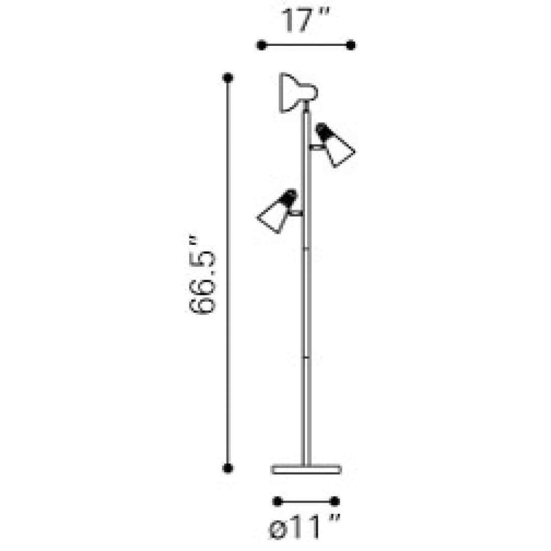 3 light floor lamp dimensions view