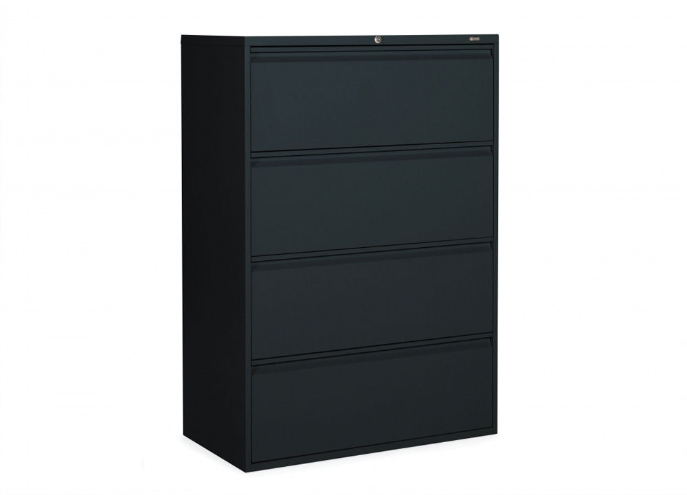 4 drawer lateral file cabinet CUB 1936P 4F12 BLK OLG