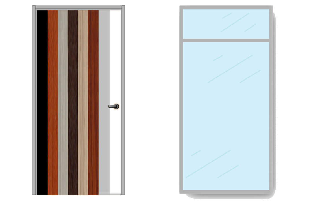 Glass Wall with Door drawing