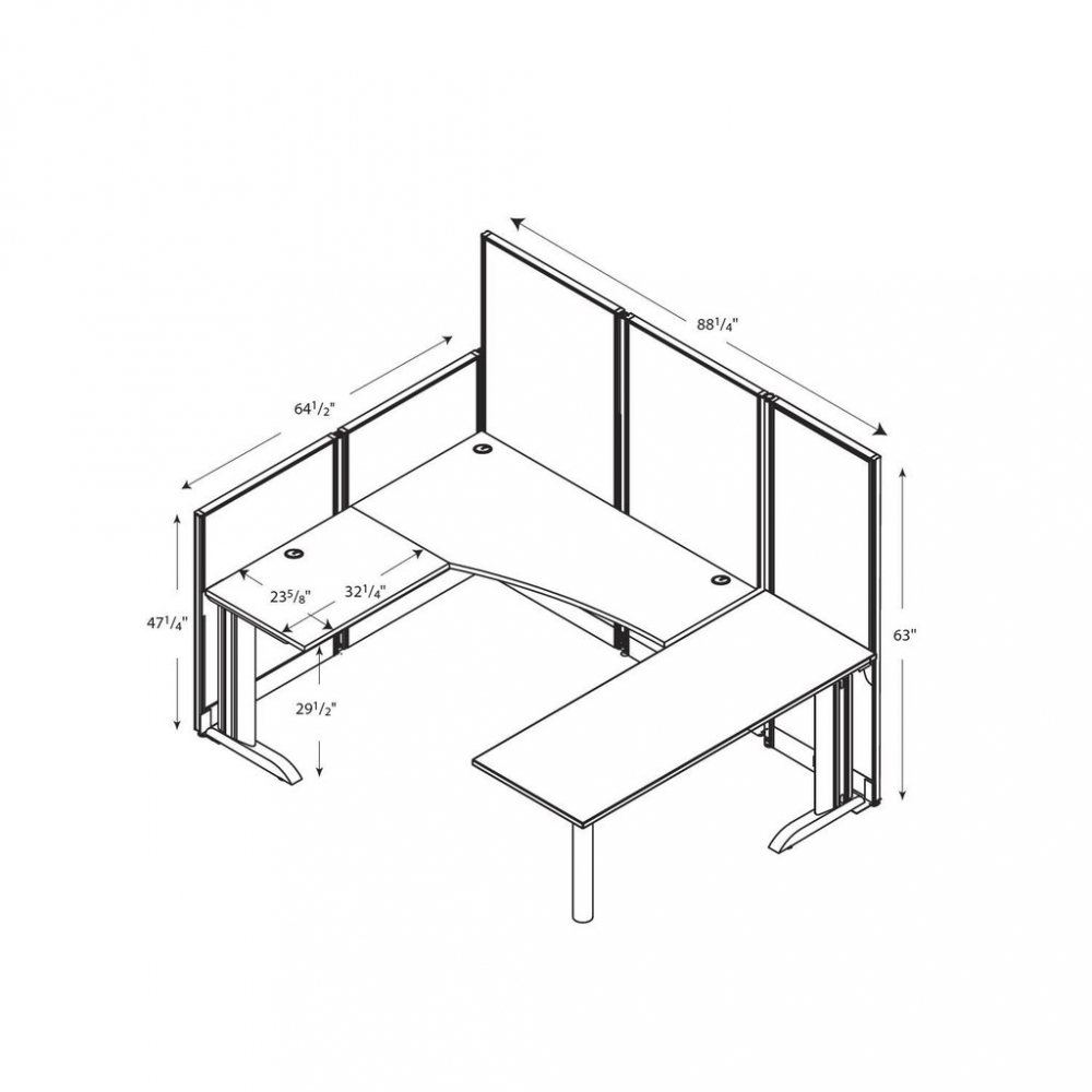 U shaped cubicle workstation with storage dimensions