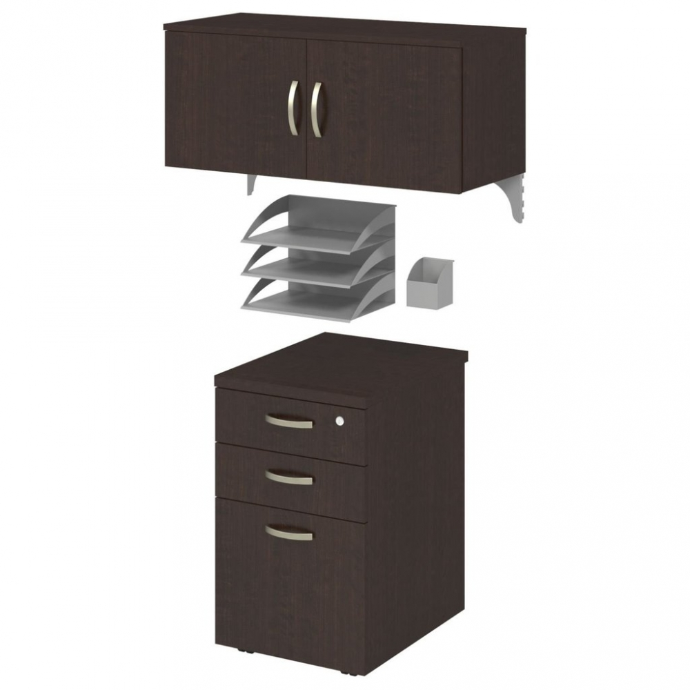 U shaped cubicle workstation with storage moca cherry