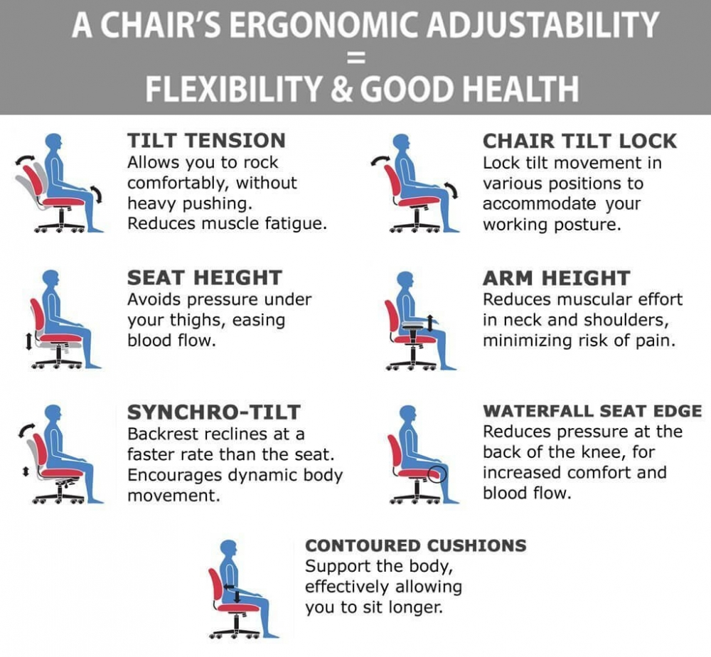 Adjustable chairs ergonomic features
