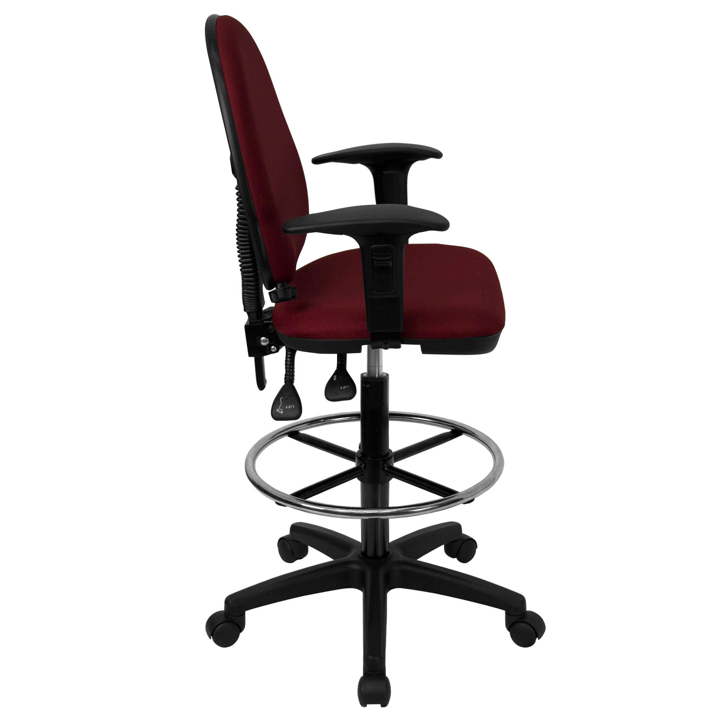 Adjustable drafting chair side view