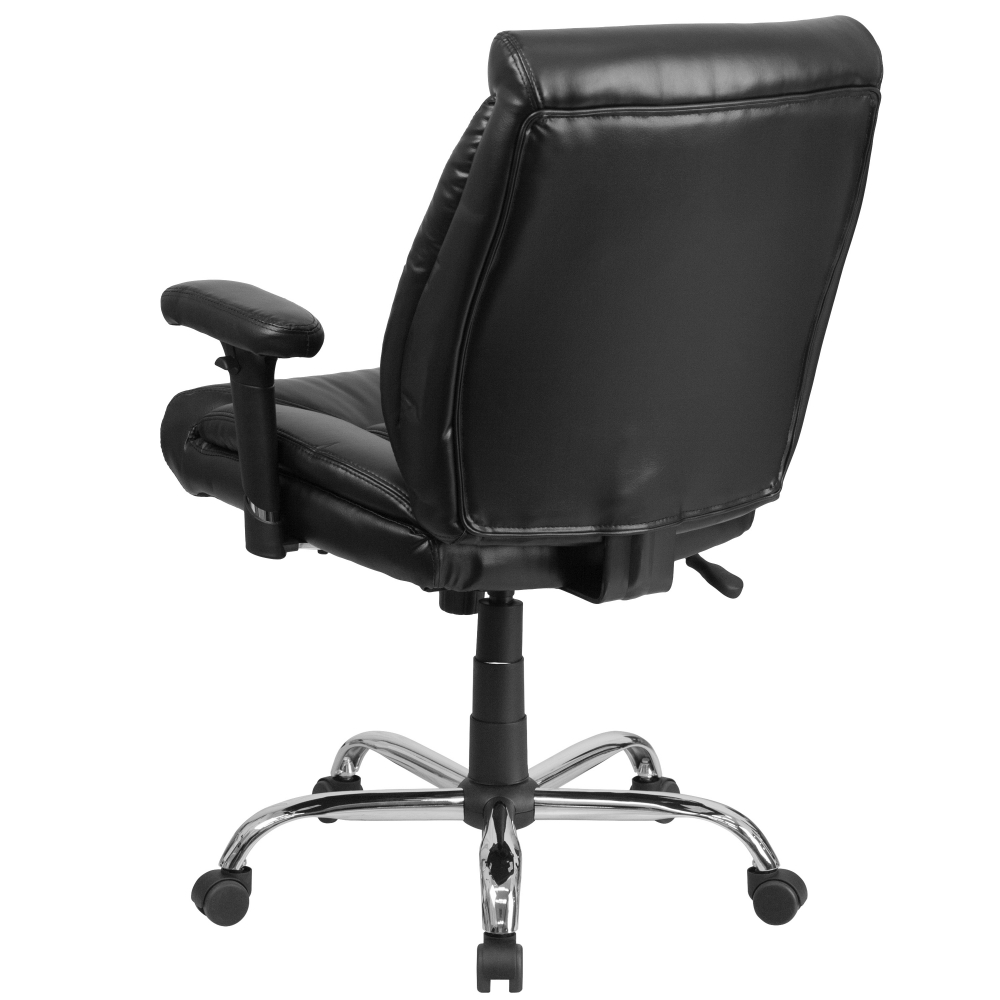 Big and tall leather office chairs rear view