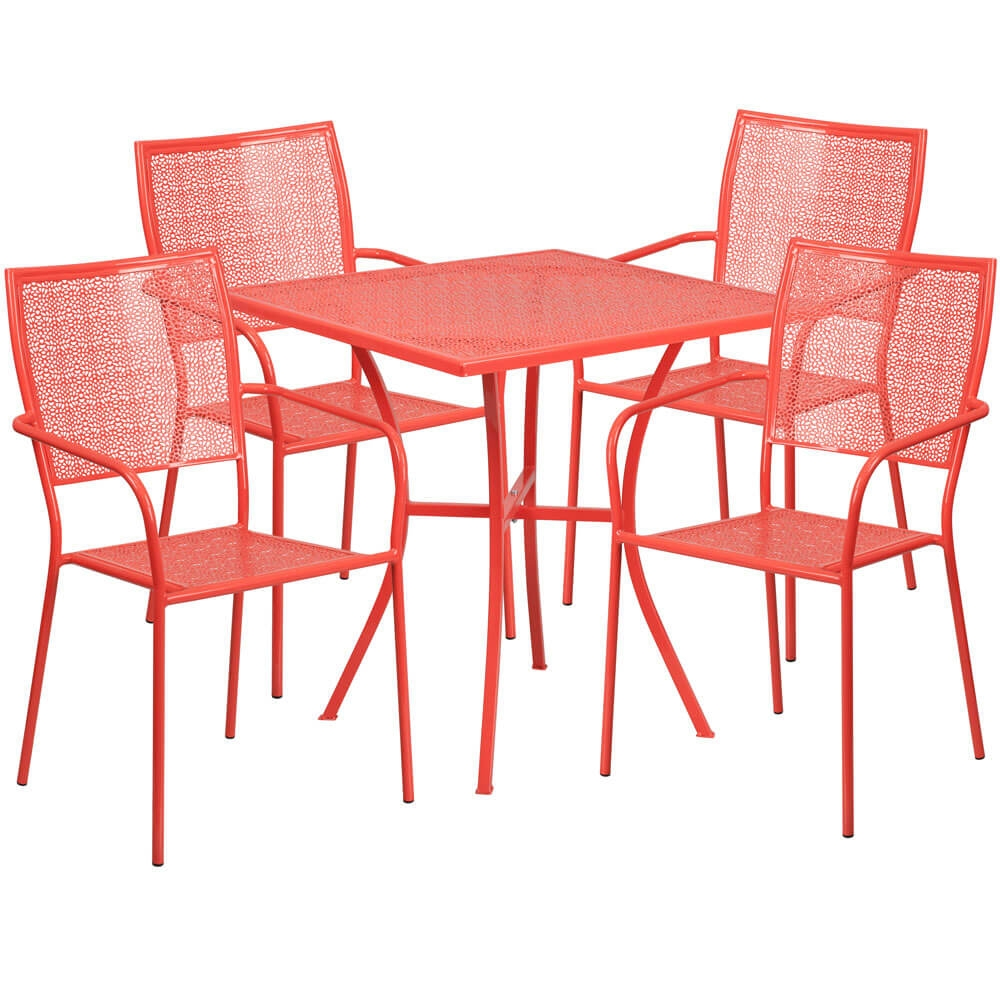 Bistro table set CUB CO 28SQ 02CHR4 RED GG FLA