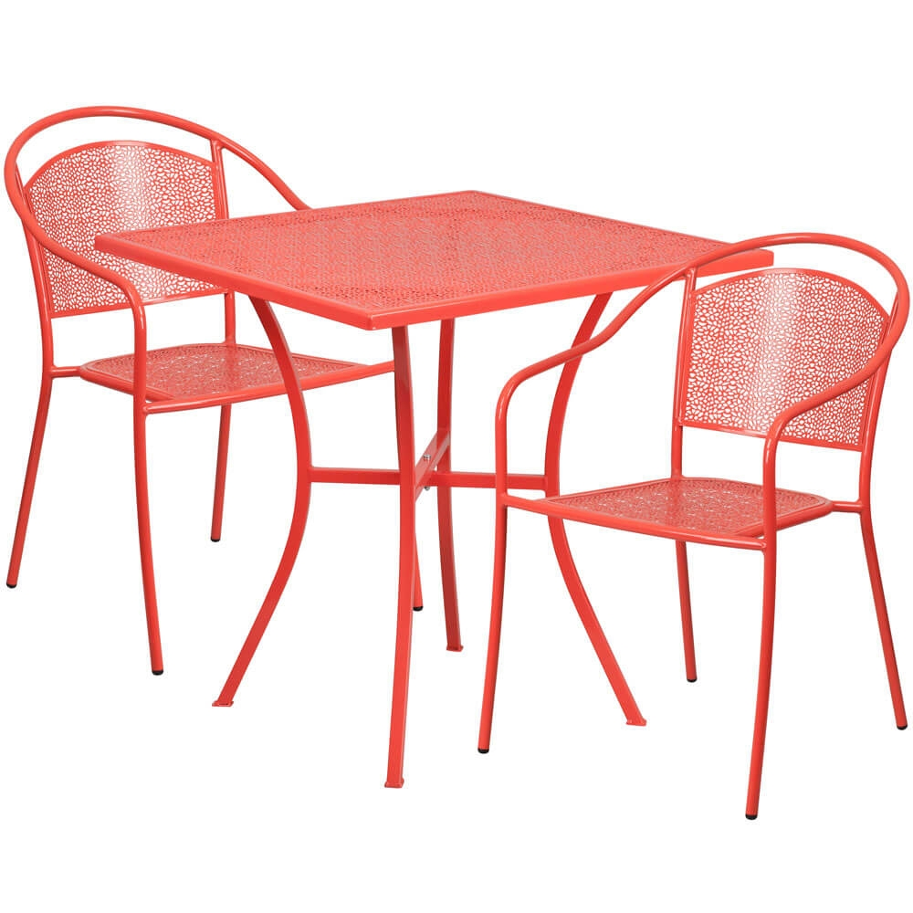 Bistro table set CUB CO 28SQ 03CHR2 RED GG FLA