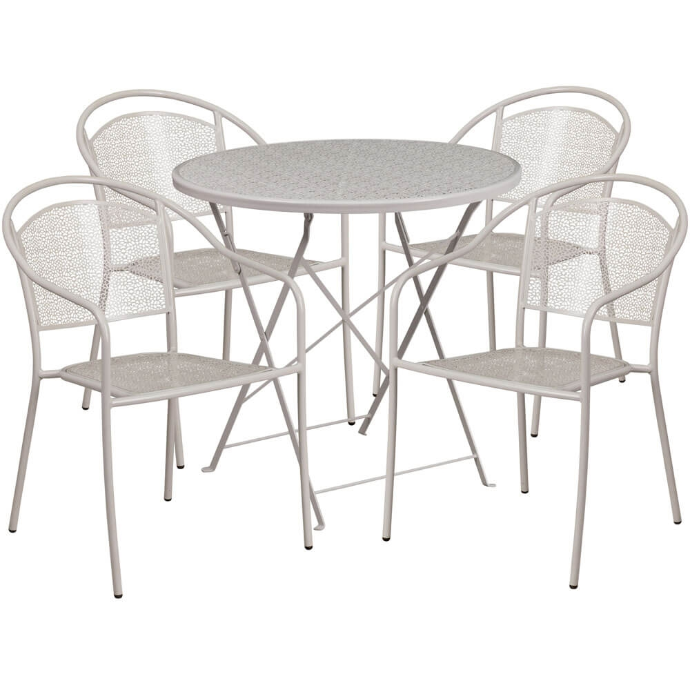 Bistro table set CUB CO 30RDF 03CHR4 SIL GG FLA