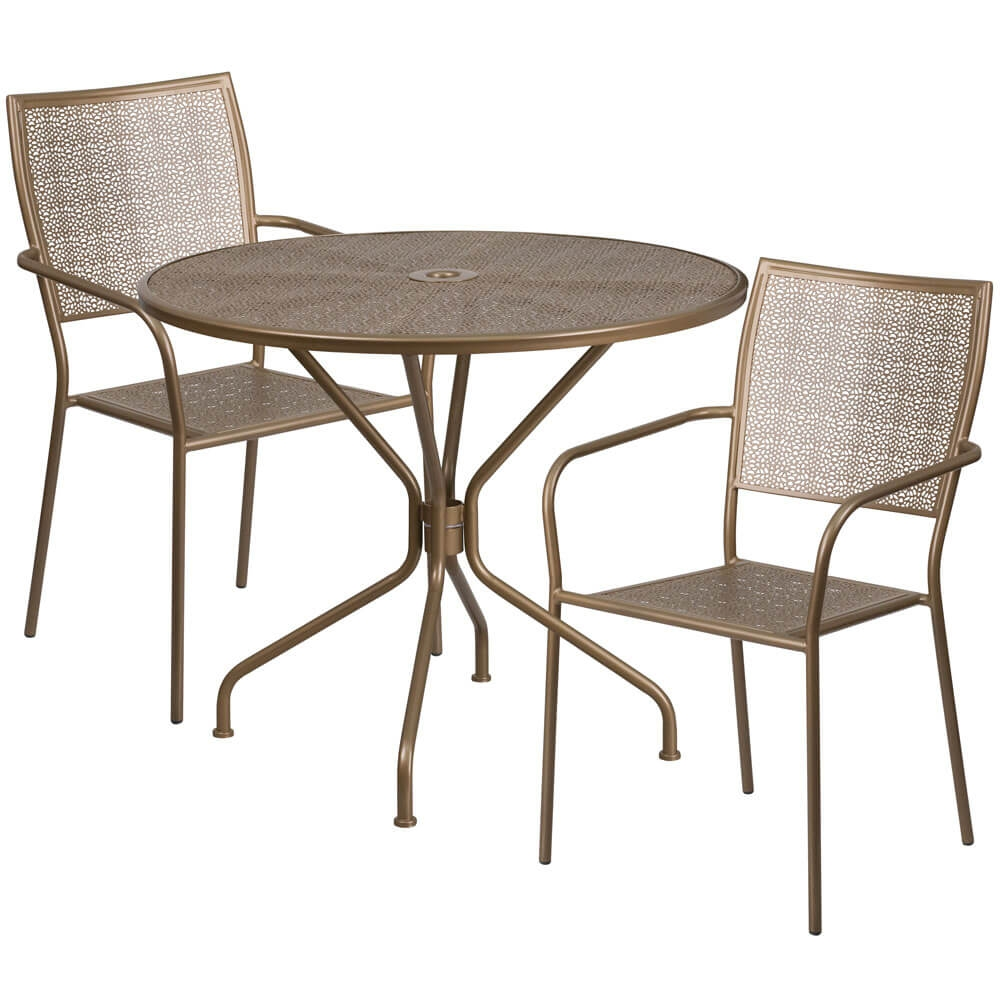 Bistro table set CUB CO 35RD 02CHR2 GD GG FLA