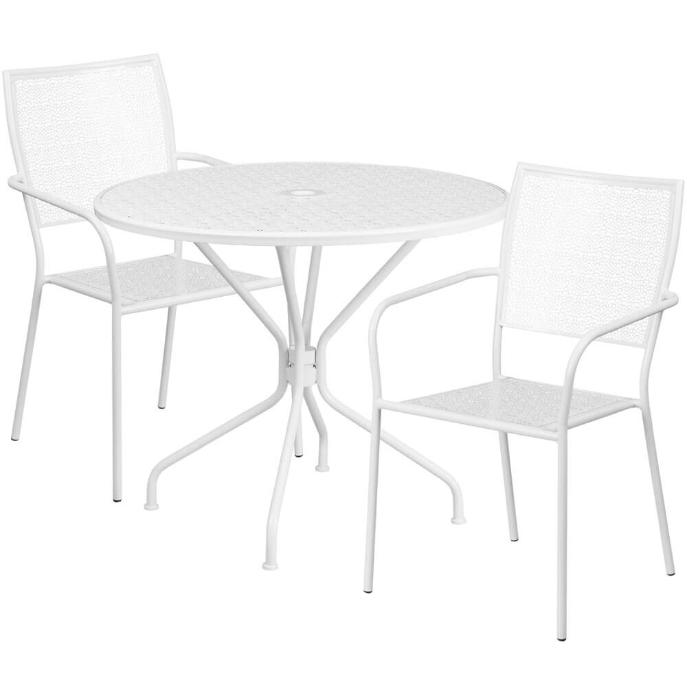 Bistro table set CUB CO 35RD 02CHR2 WH GG FLA