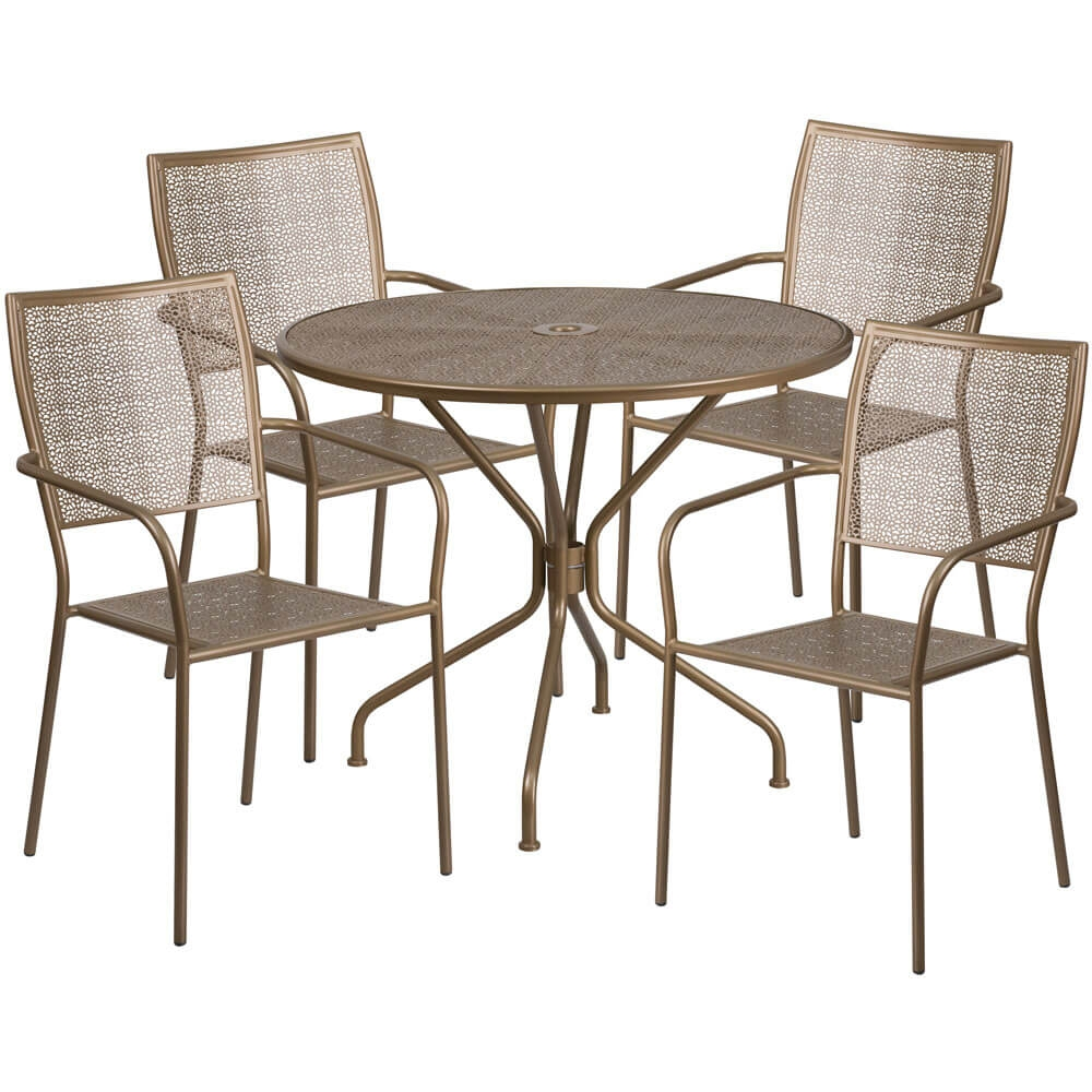 Bistro table set CUB CO 35RD 02CHR4 GD GG FLA