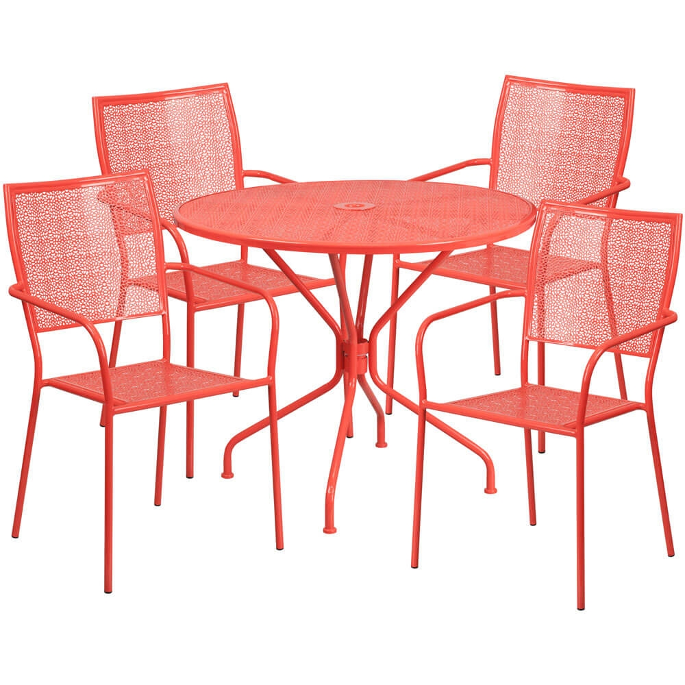 Bistro table set CUB CO 35RD 02CHR4 RED GG FLA
