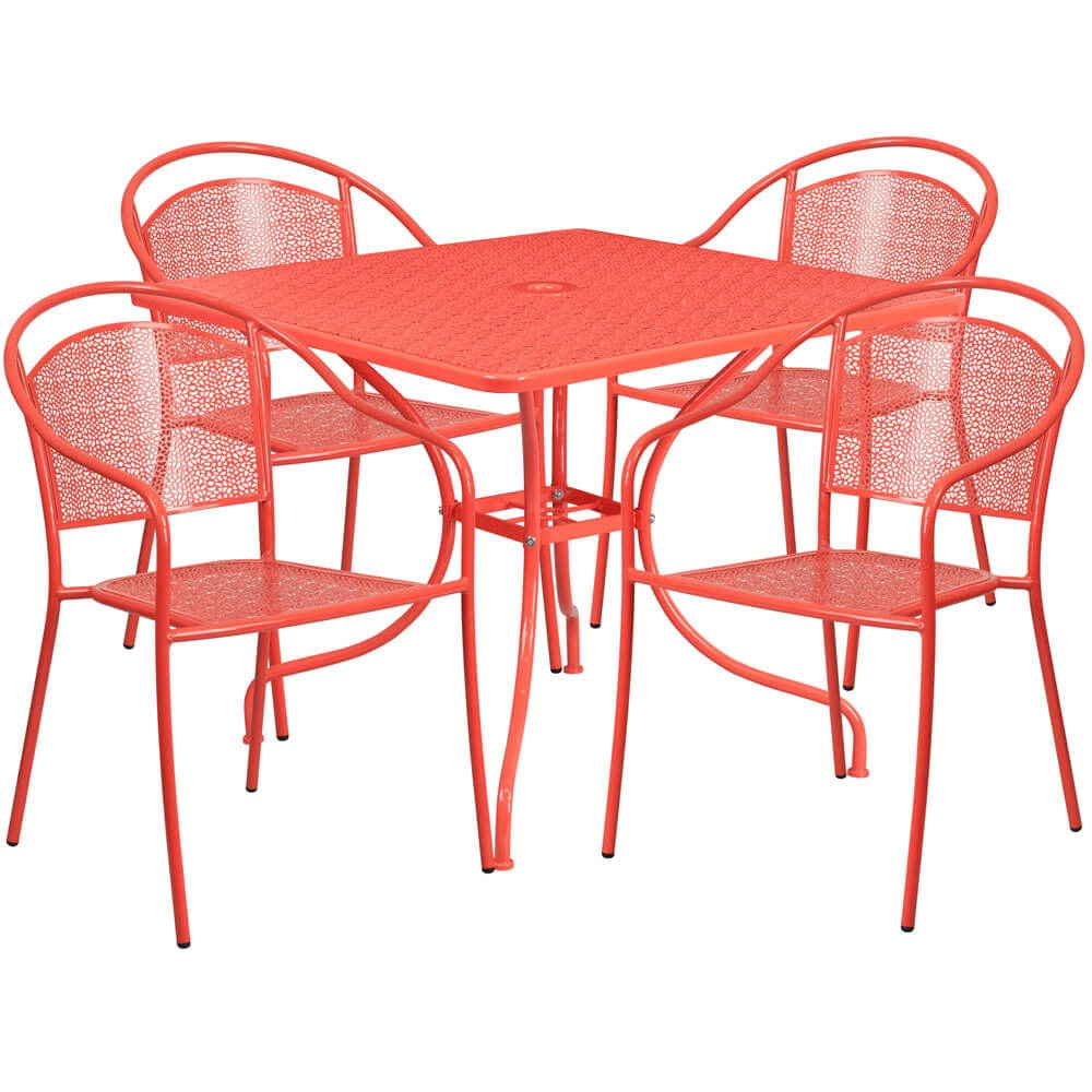 Bistro table set CUB CO 35SQ 03CHR4 RED GG FLA