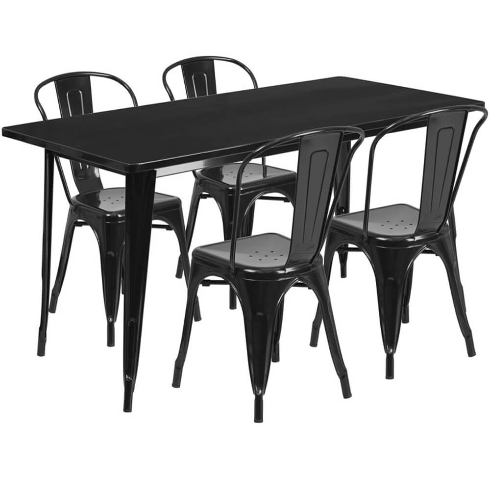 Bistro table set CUB ET CT005 4 30 BK GG FLA