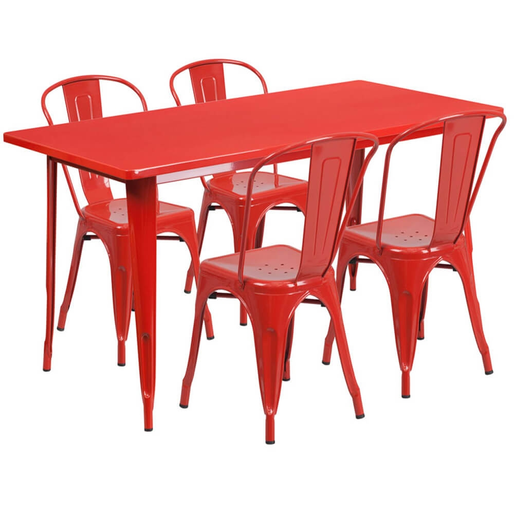 Bistro table set CUB ET CT005 4 30 RED GG FLA