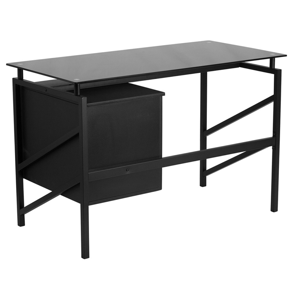 glass top office desk. Black Glass Top Office Desk Rear View