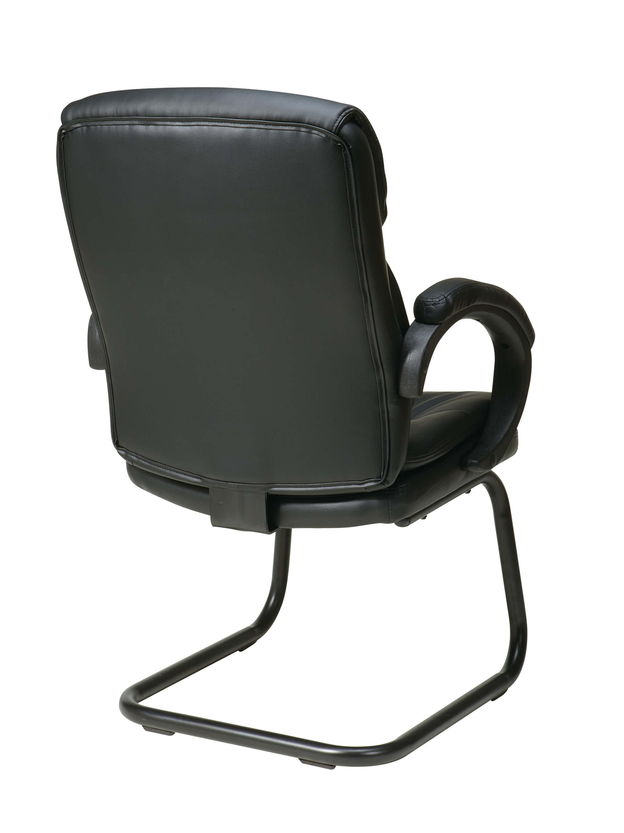 Black leather office chair back