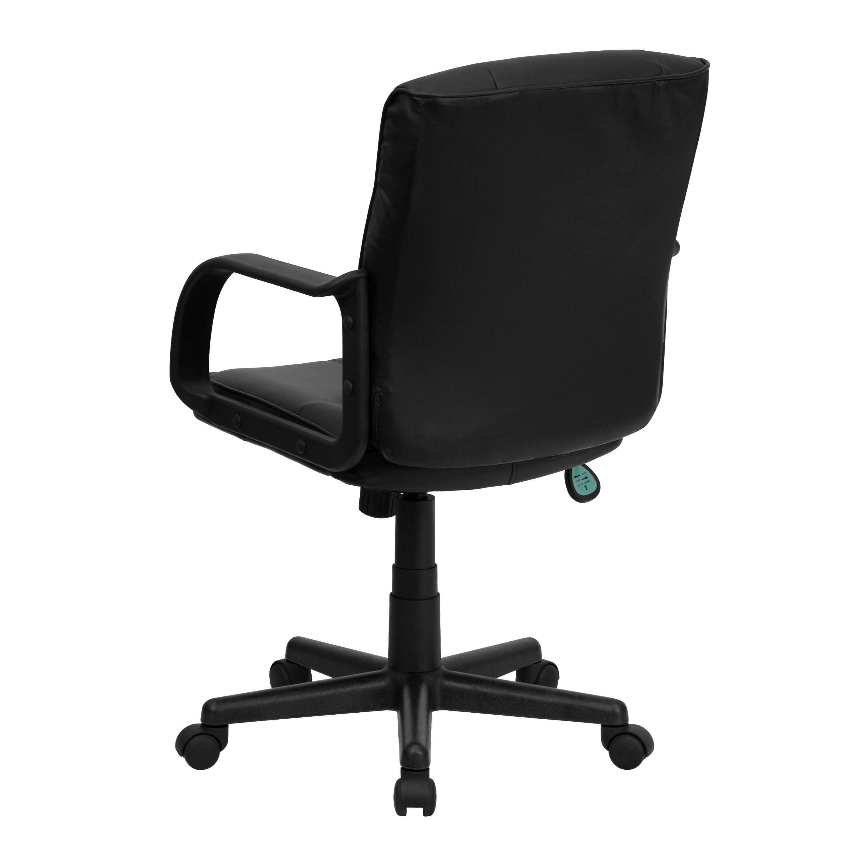 Office chair back view - Black Leather Office Chair Rear View