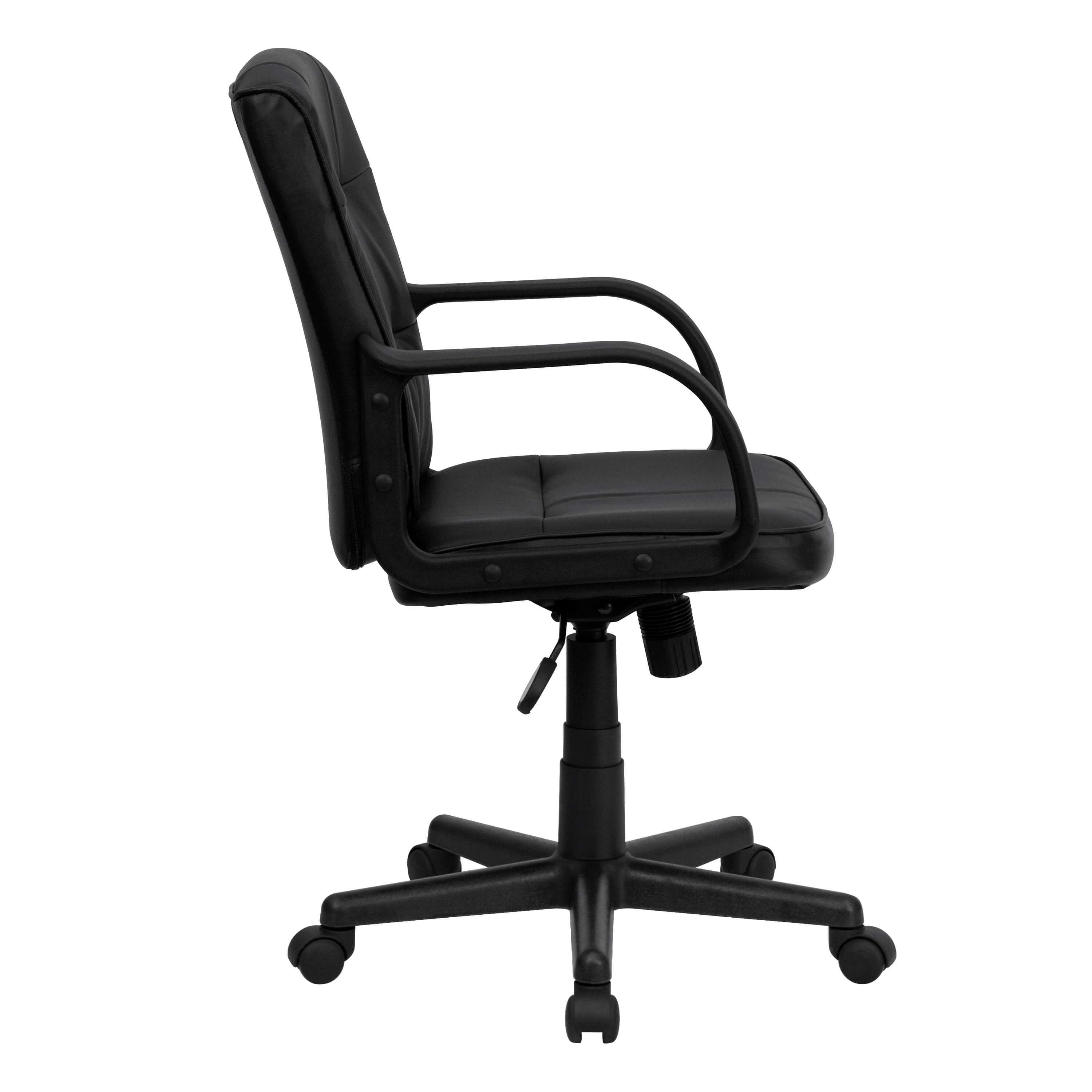 Black leather office chair side view