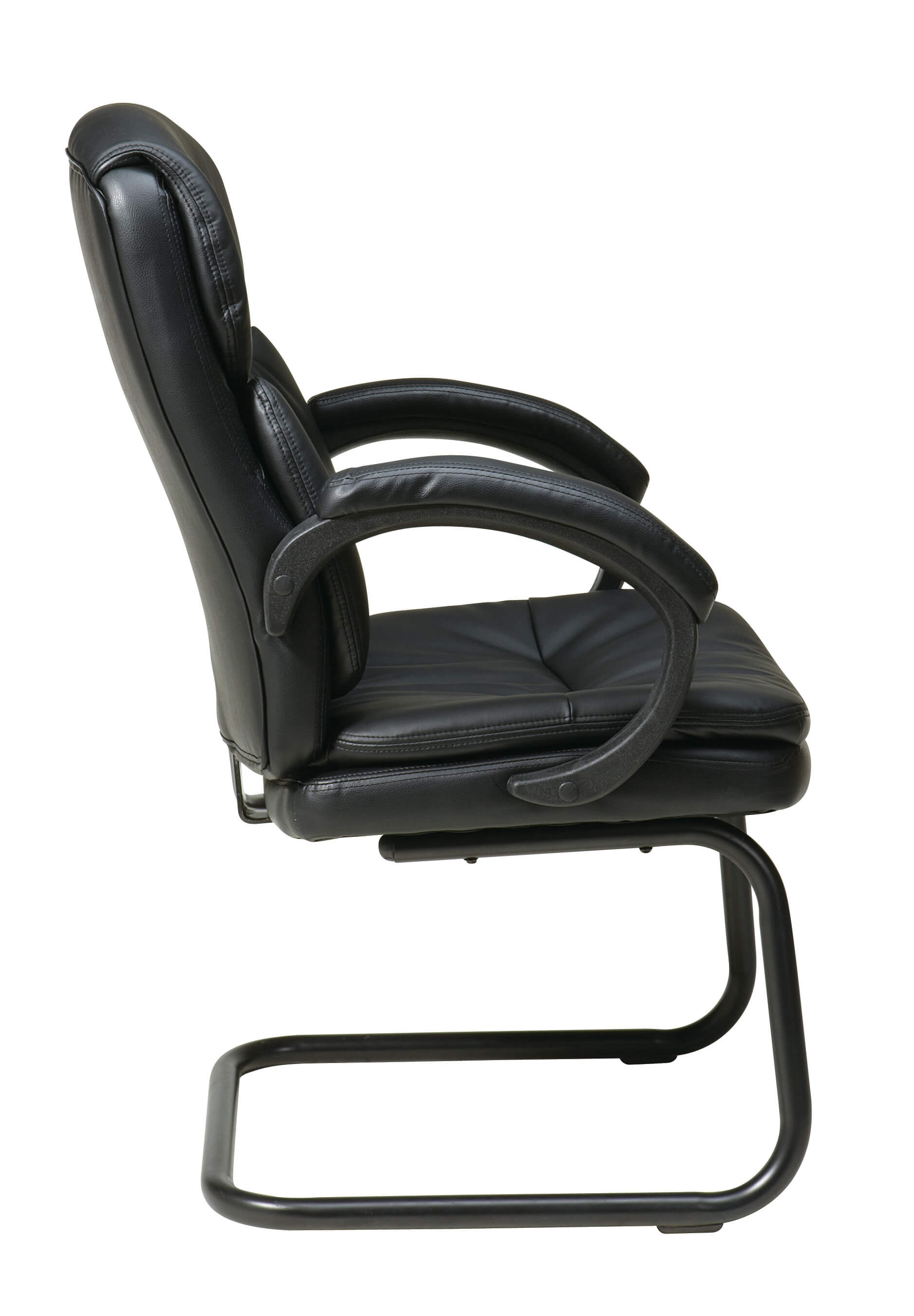 Black leather office chair side