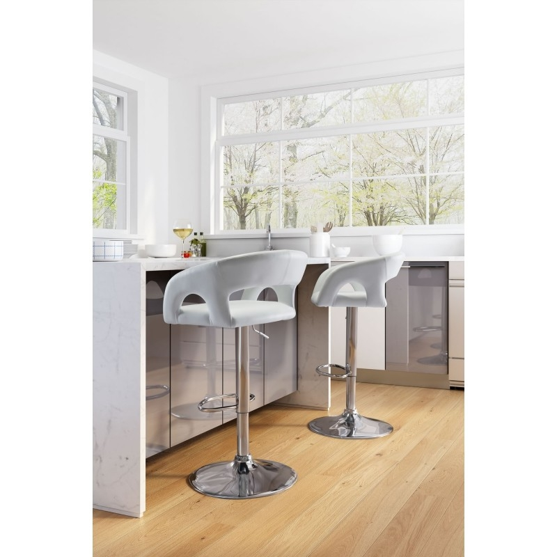 Black or white bar stools with backs environmental