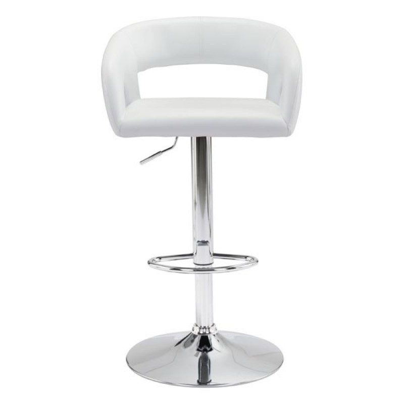 Black or white bar stools with backs front view