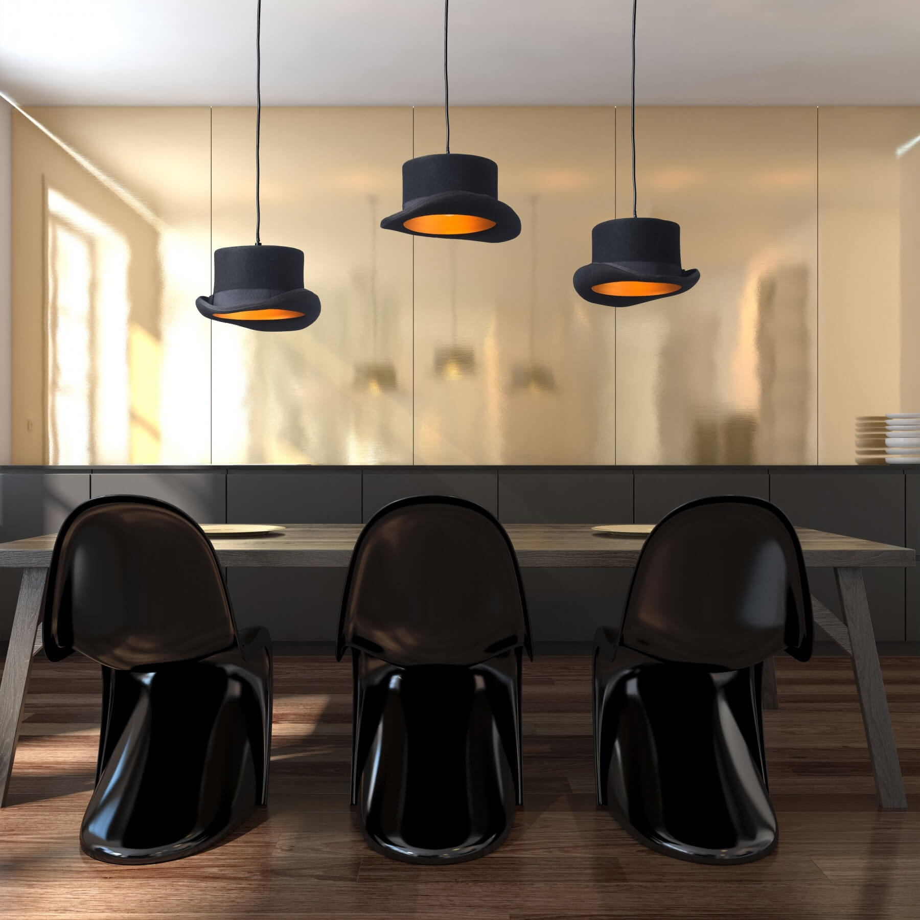 Black pendant light environmental view