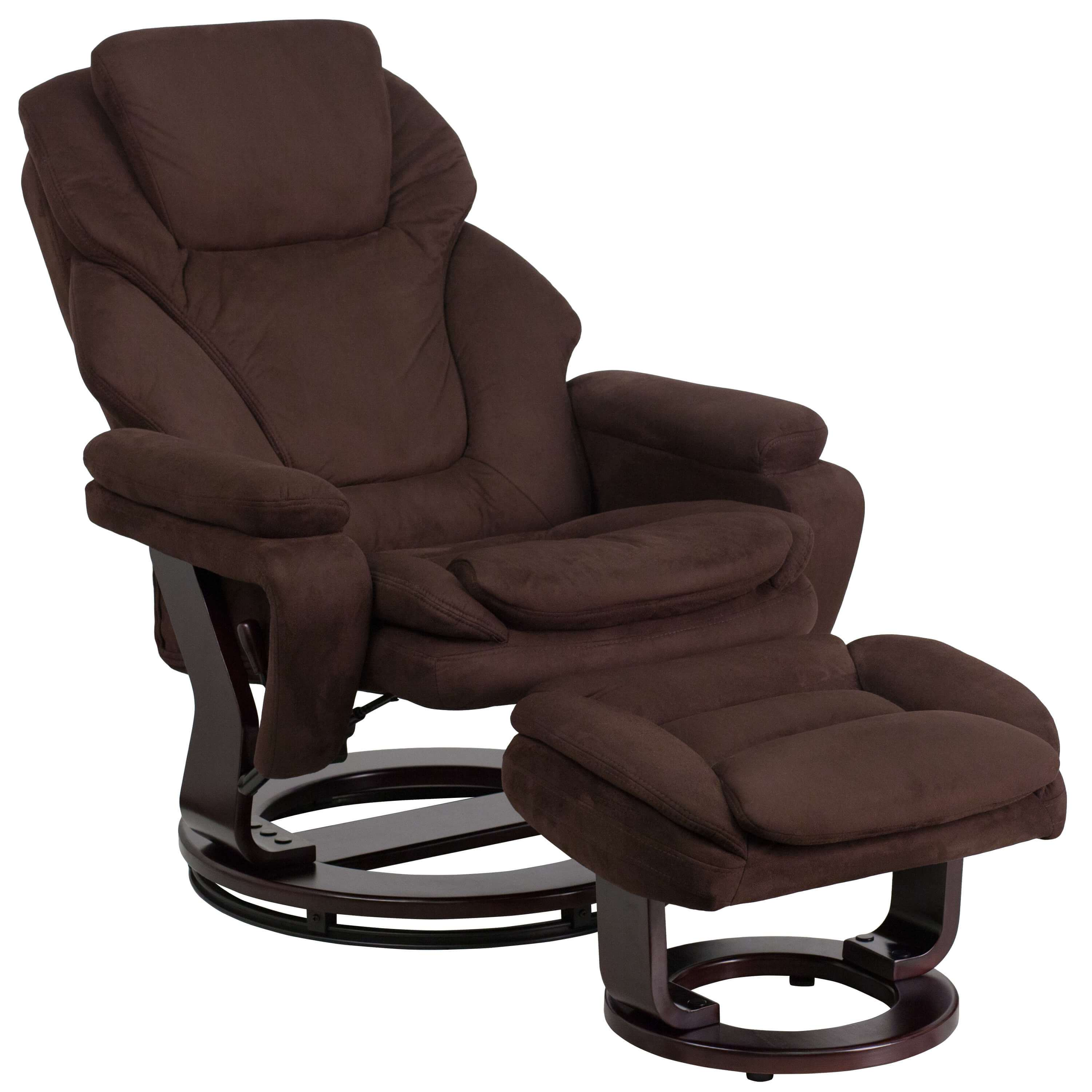 Brown recliner reclined view