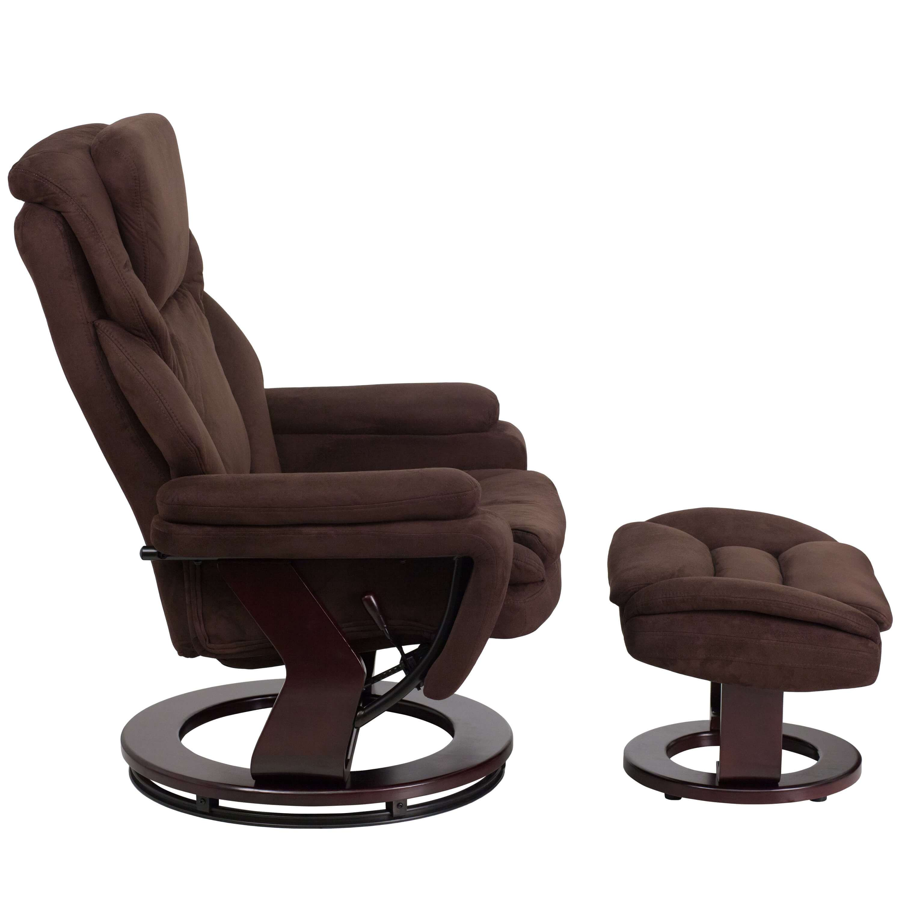 Brown recliner side view