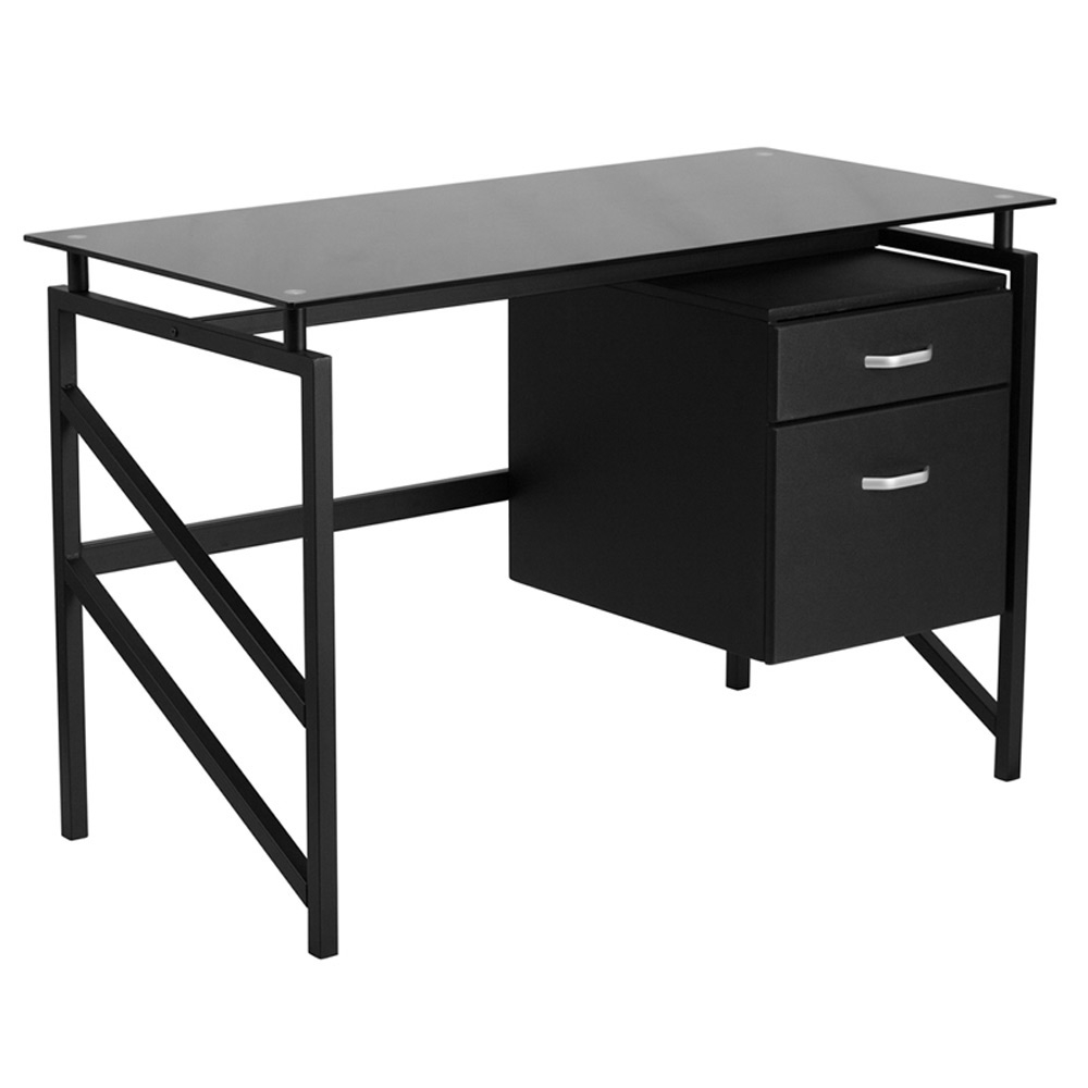 Flynn Black Glass Top Office Desk