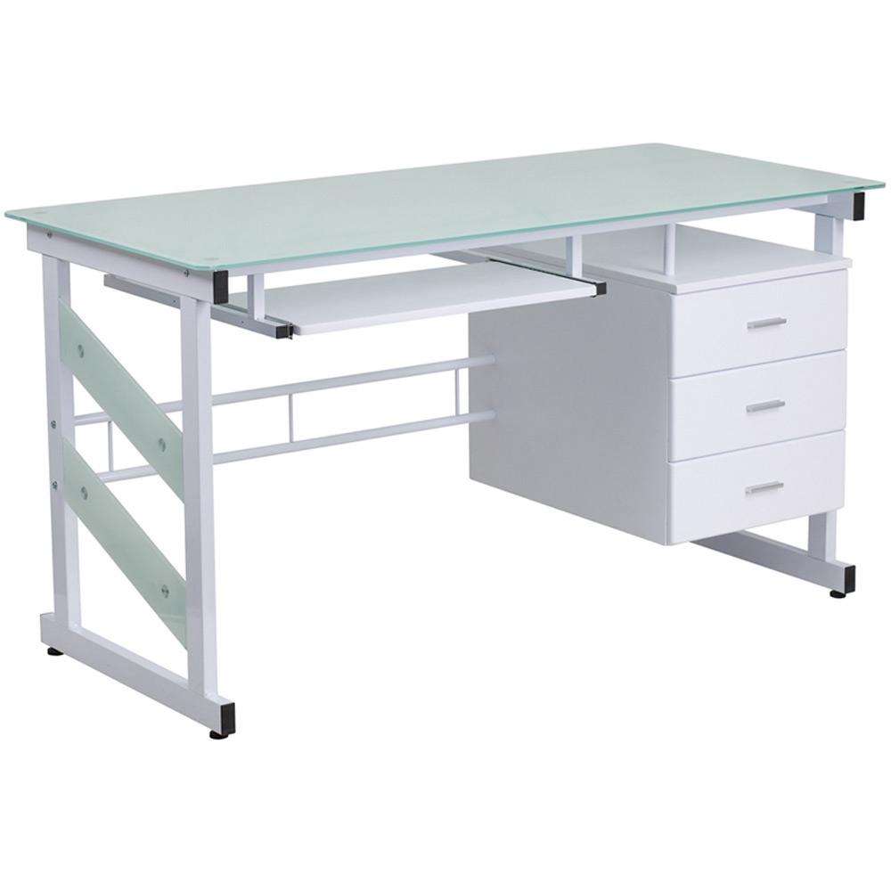 Flora Tempered Glass Desk
