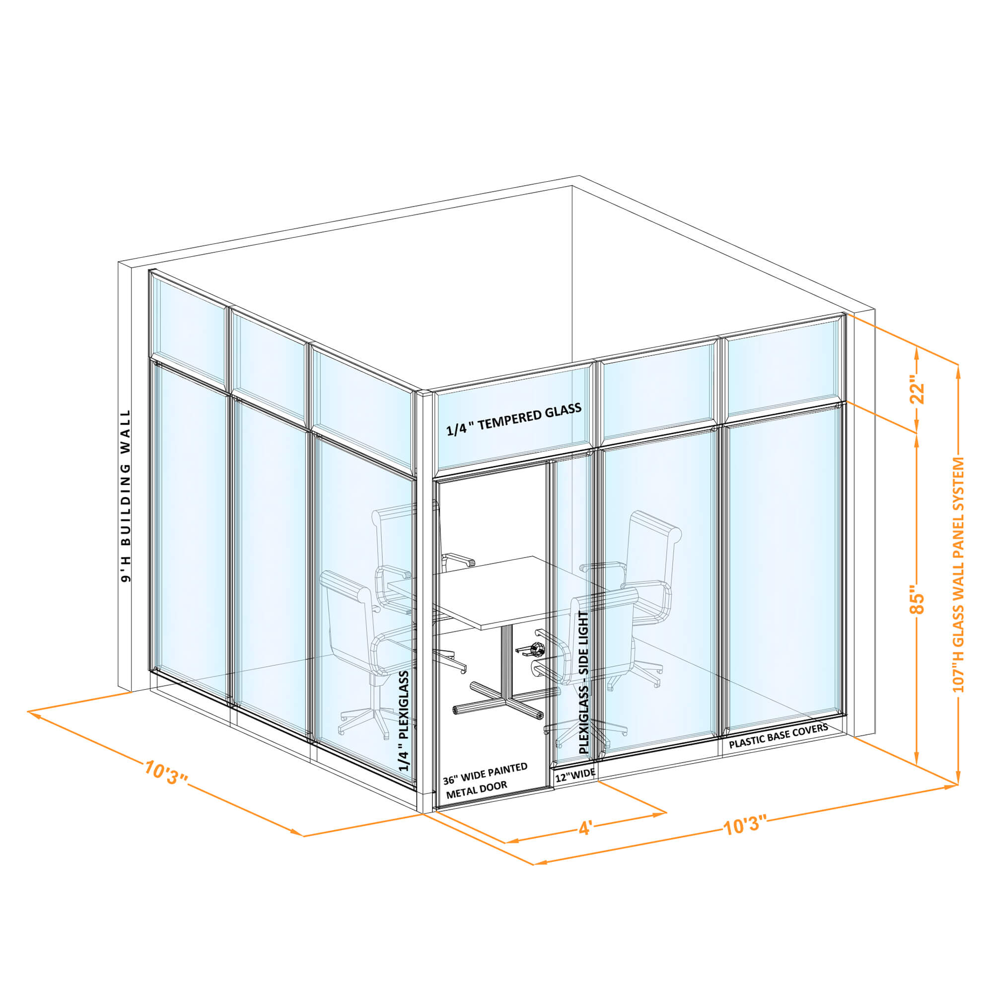Conference room glass wall GWCR L 100x100x1070