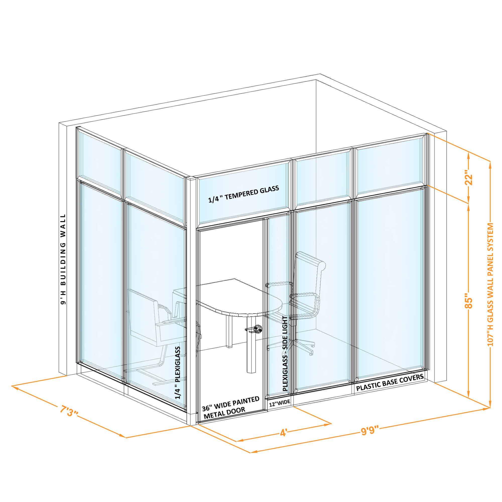 Conference room glass wall GWCR L 96x70x1070