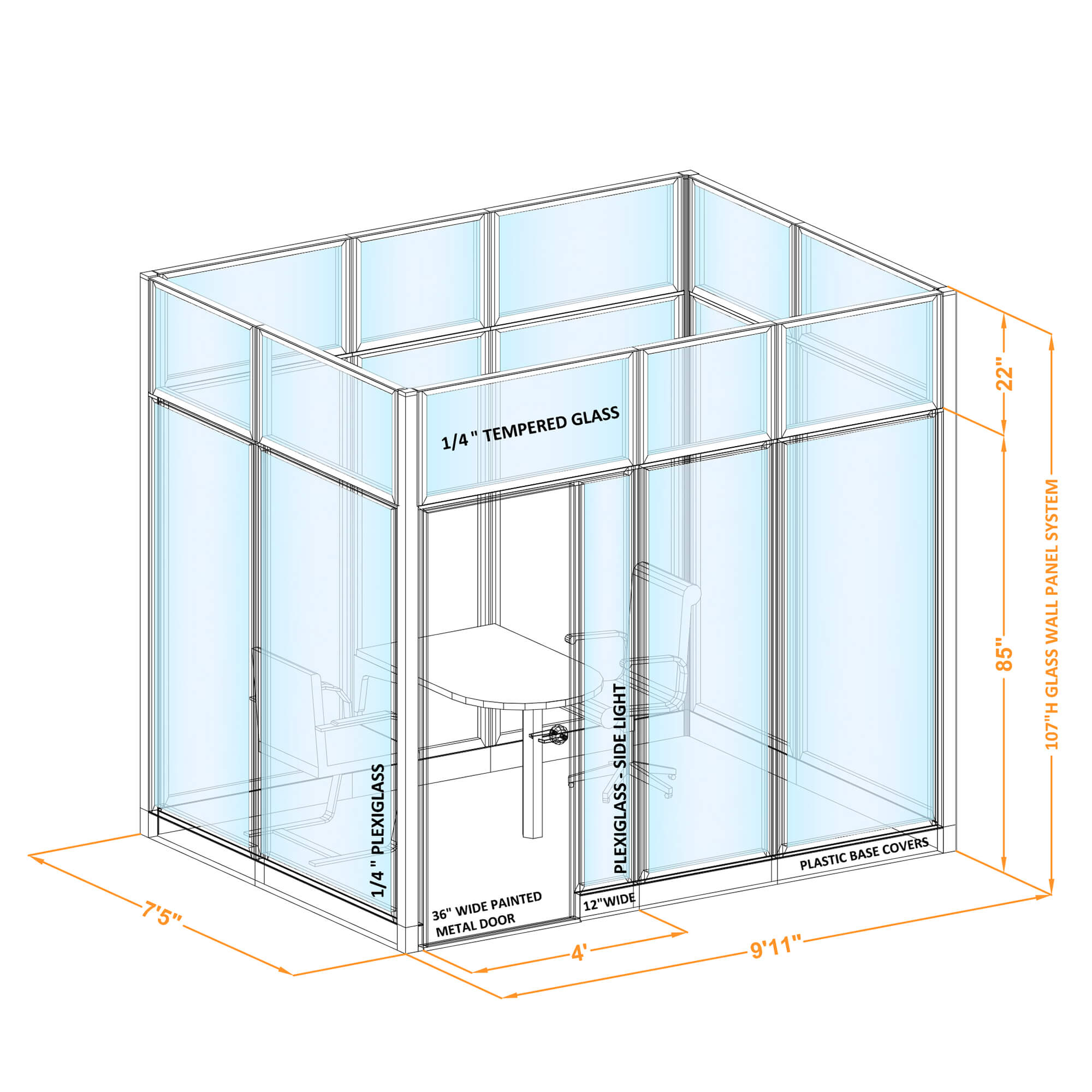 Conference room glass wall GWCR O 96x70x1070