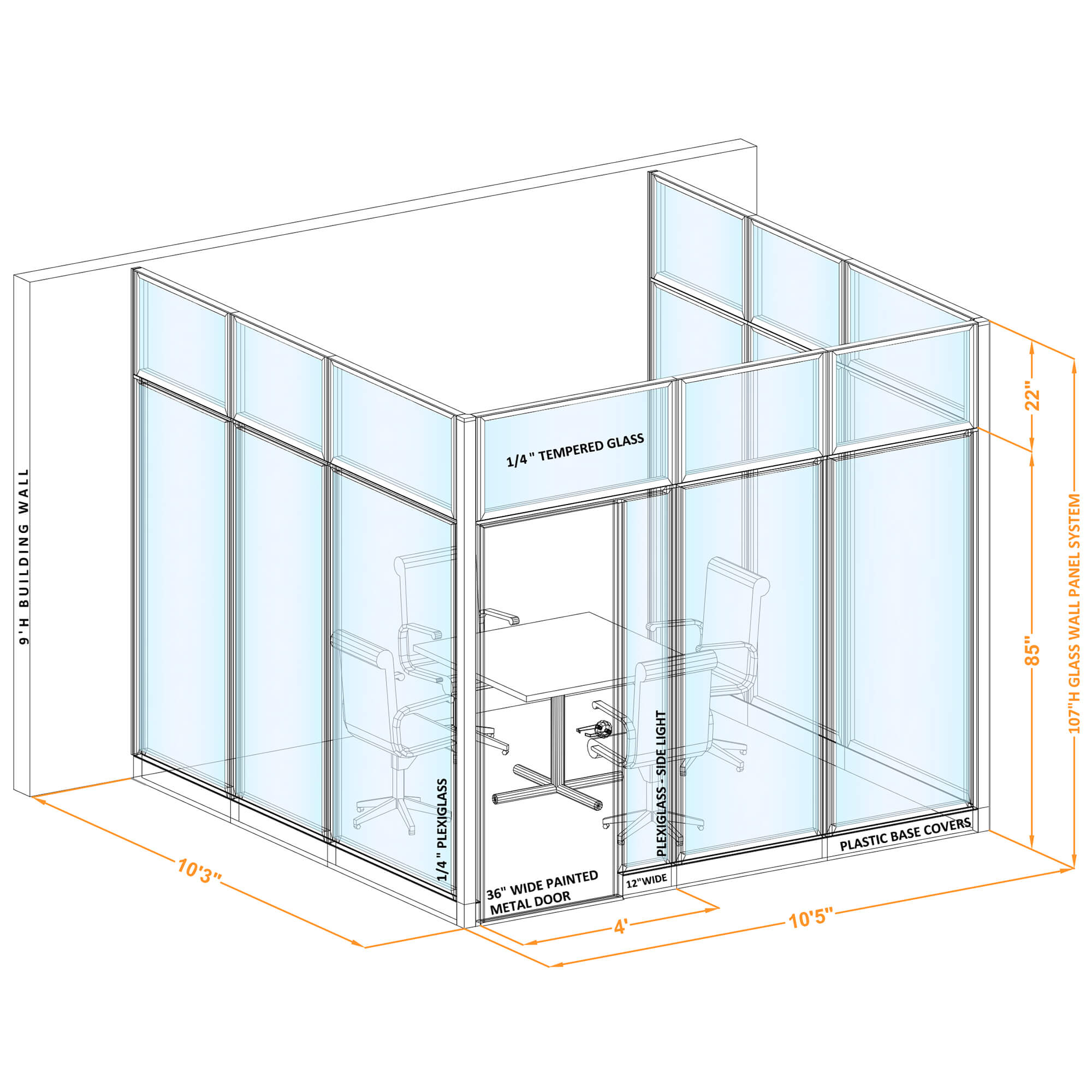 Conference room glass wall GWCR U 100x100x1070