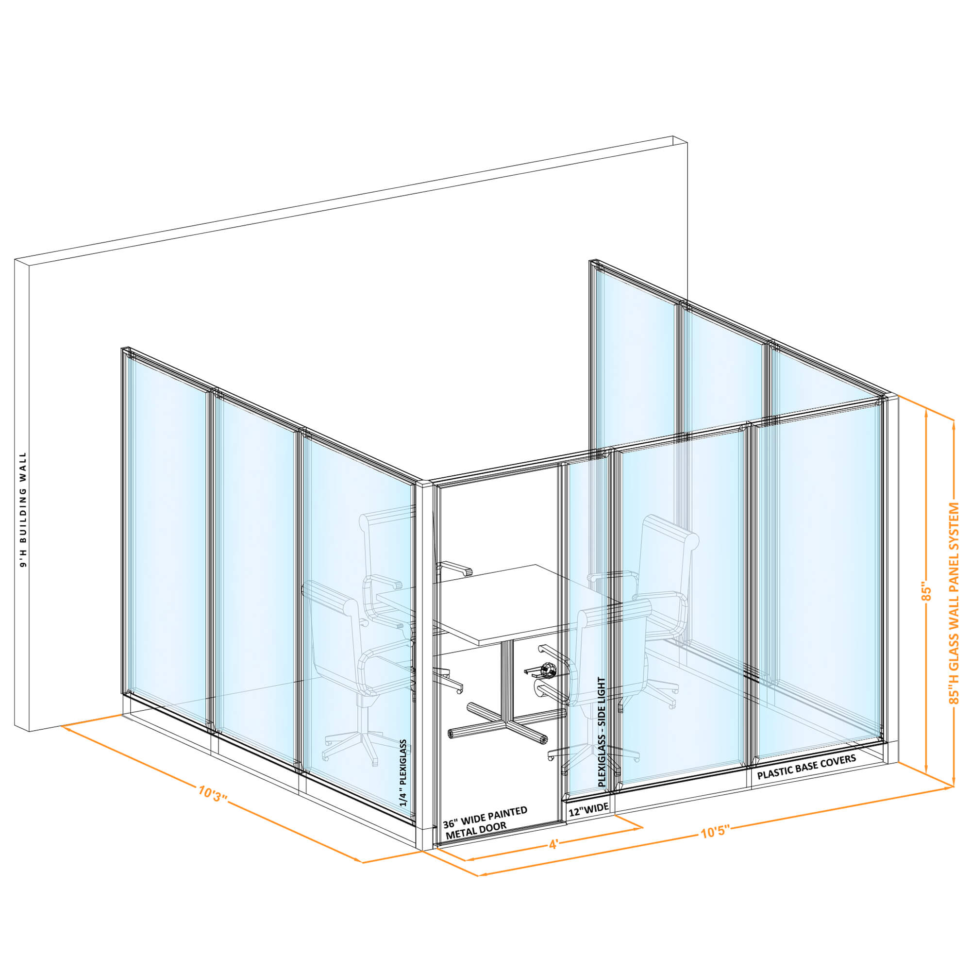 Conference room glass wall GWCR U 100x100x850