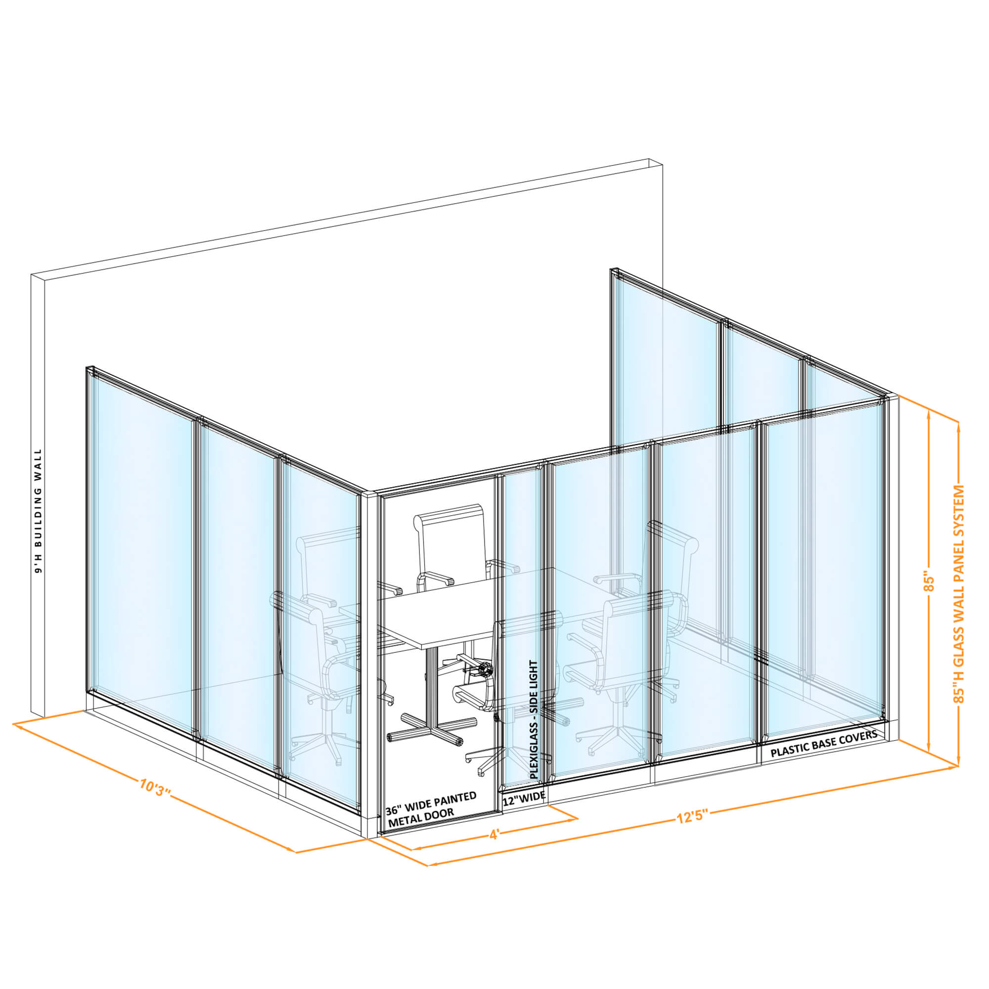 Conference room glass wall GWCR U 120x100x850