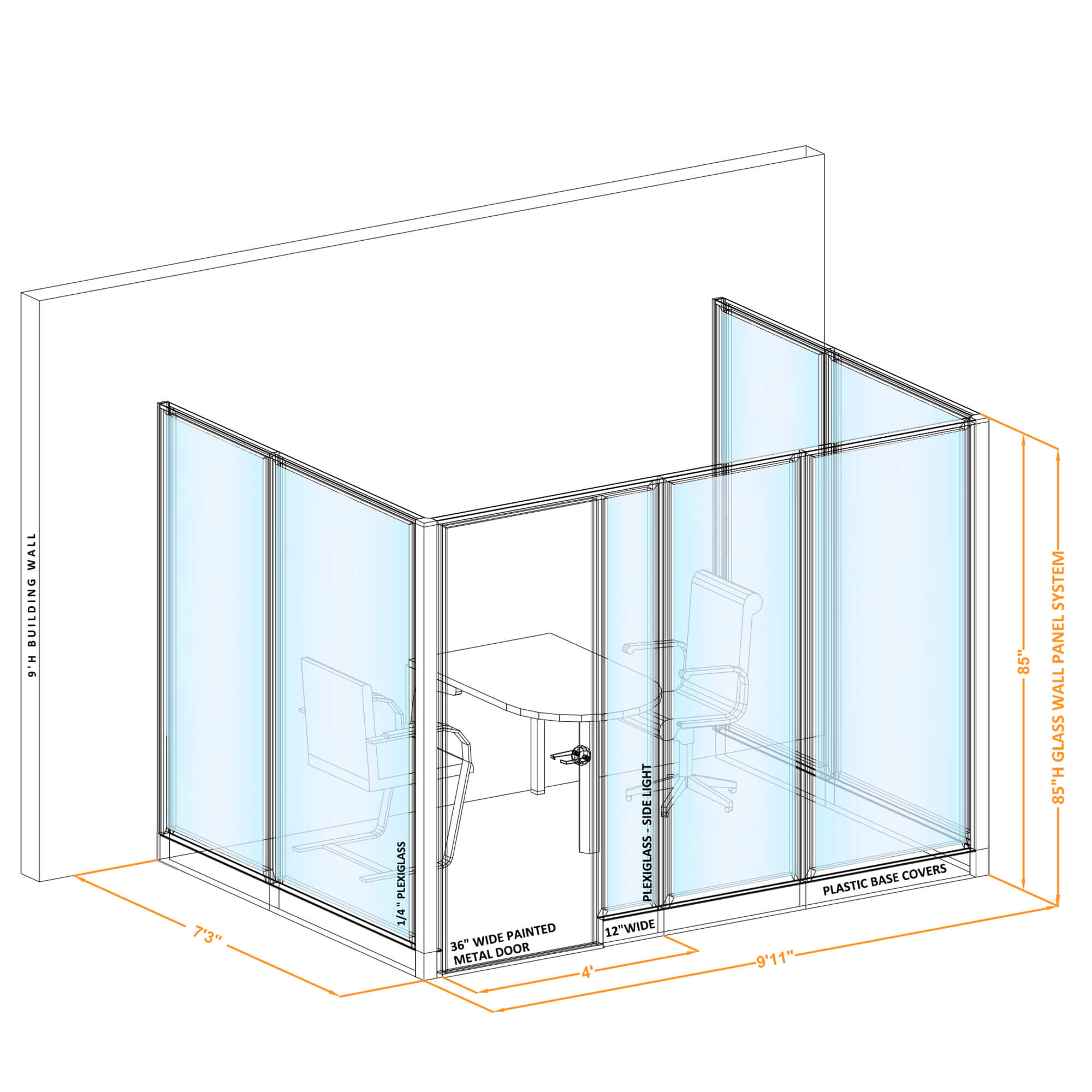 Conference room glass wall GWCR U 96x70x850