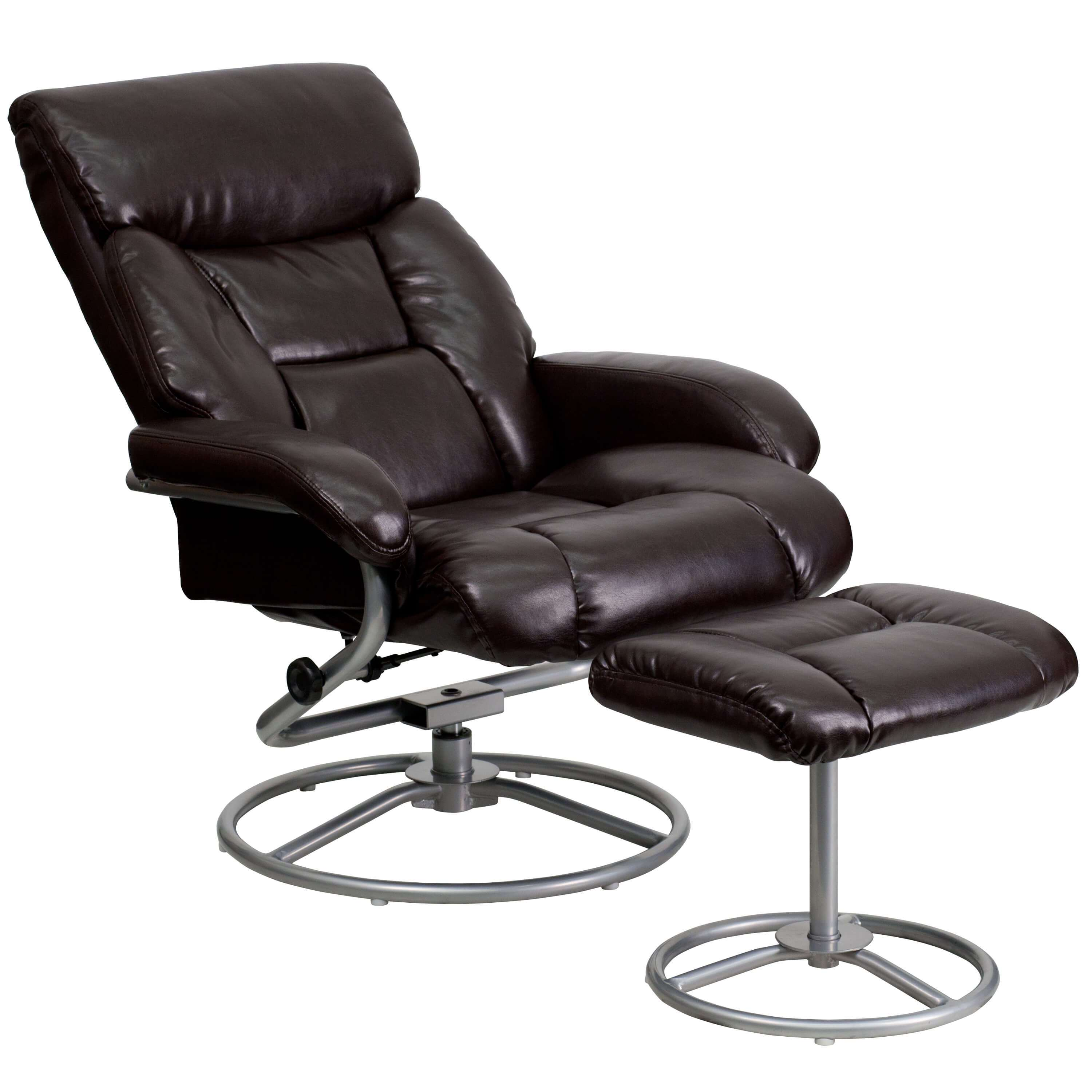 Contemporary leather recliners reclined view