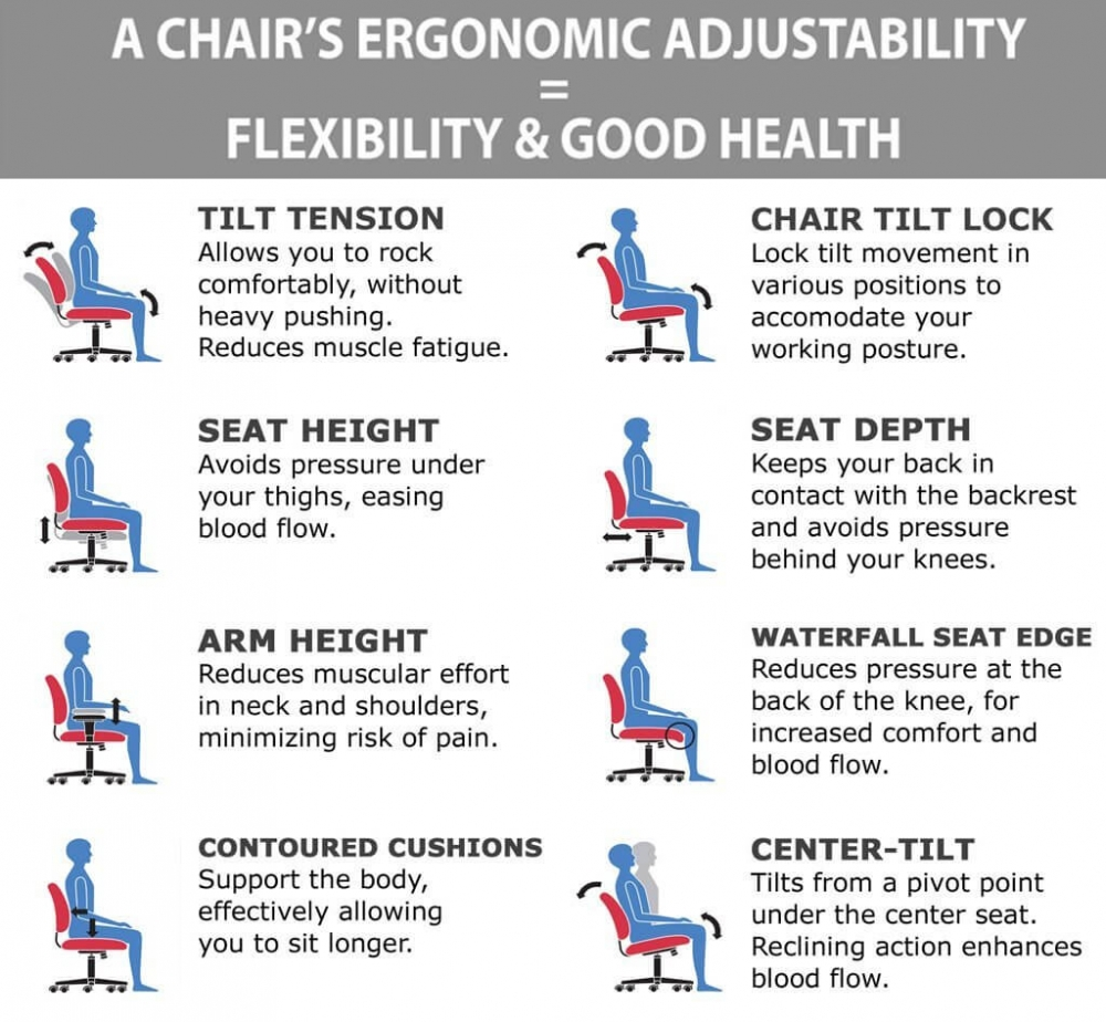 Contemporary office chair ergonomic features